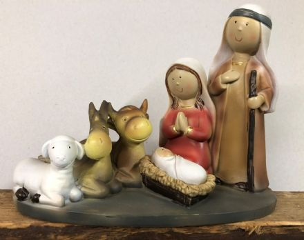 Christmas Nativity Crib Scene Ornament with Animals